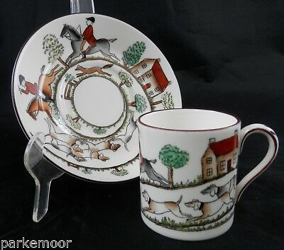 PV02031 Crown Staffordshire HUNTING SCENE Demi Cup with Canton Saucer