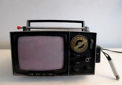 Vintage Space Age Sony Micro TV Television Model 5-303W Made In Japan