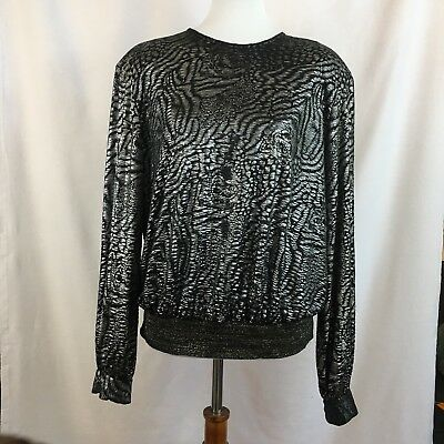 VINTAGE Judy Bond Womens Black & Silver Party Shirt with Tigers! 80s? Cool! EUC!