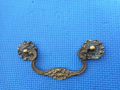 "Antique VINTAGE Brass Hardware Furniture Drawer Cabinet Pulls Holes 4"" C to C"