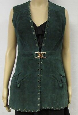 Vintage 60s 70s Vest Genuine Suede Leather Tunic Teal Buckle Rivets Lace Up Boho