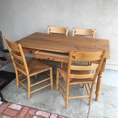 Ethan Allen Farm House Country 4 Wicker Chairs w/drawer