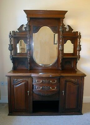 Large Mahogany Mirror Back Victorian Sideboard