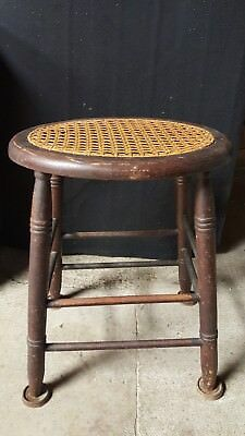 Antique Caned Wood Stool C. Robinson Rochester NY Circa 1825-1860 Rare Chair