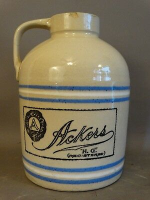Antique FINLEY ACKER & Co OYSTER Seafood JUG Old STONEWARE Advertising CROCK Can