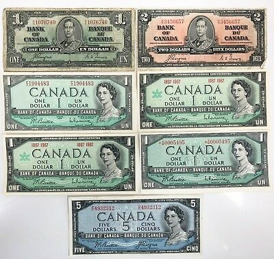 Lot of 7 Bank of Canada Notes 1937 $1 & $2 1954 (2) $1 & $5 (2) 1967 $1