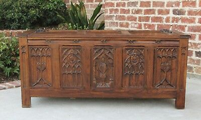 Antique French GOTHIC Oak Blanket Box Coffer Chest Coffee Table Trunk