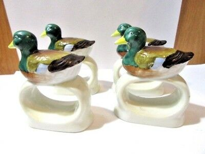 Carved Napkin Rings Duck Glazed Ceramic Lego Korea Set Lot Of Four Matching