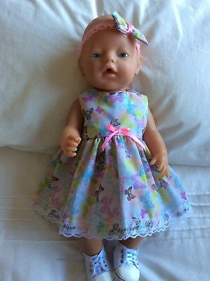 """Doll Clothes to fit 17"""" Baby Born doll ~ Dress & hband  ~ Small butterflies"""