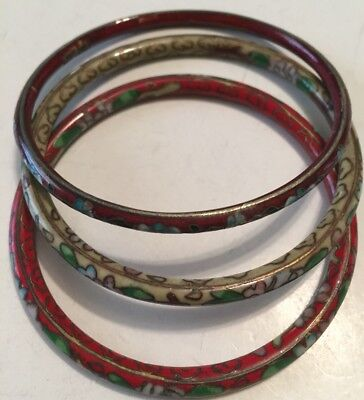 Lot Of Three Vintage Chinese Bangle Bracelet With Cloisonné