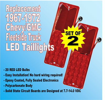 1967-1972  Chevy C10 GMC Pickup Truck Red LED Fleetside Taillight Lenses, Pair