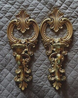 Set of 2 Vintage Gold DART Syroco Wall Sconces Candle Holders - #4204