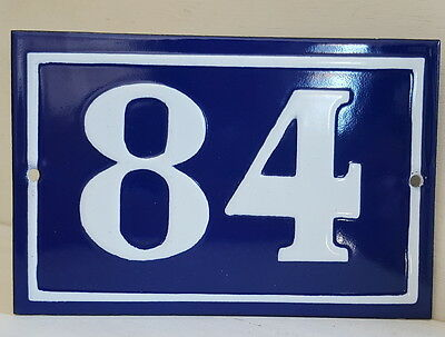 OLD FRENCH HOUSE NUMBER SIGN door gate PLATE PLAQUE Enamel steel metal 84 Blue