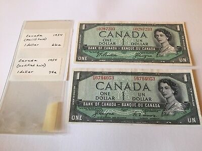 Canada 1954 1 Dollar Bank Note Set. Devils head and regular.