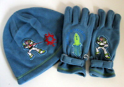 NWT Disney Store TOY STORY BUZZ LIGHTYEAR Fleece Enbroidered HAT GLOVES Med Set