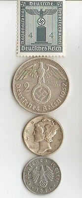 -5-*WW2 - Zink, steel  and   SILVER   - *us   and - *german coins/STAMP++