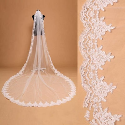 White/Ivory 1 Layer Veil Lace Wedding Veils Cathedral Bridal Vail With Comb
