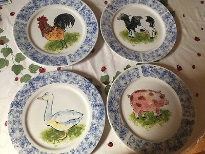 TABLETOPS UNLIMITED Country Barn COW PIG ROOSTER GOOSE Set of 4 Dinner Plates & TABLETOPS UNLIMITED Country Barn COW PIG ROOSTER GOOSE Set of 4 ...