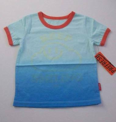 ls NWT Prefresh Boys Boutique Blue Keep Smiling Dip Dye Ringer Tee Top 12-18