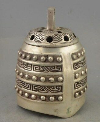 China Collectible Old Copper Silver Plate Handwork Chime Statue Incense Burner