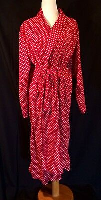 Vintage Men's JOS A BANK CLOTHIERS Long Red Diamond Pattern Combed Cotton Robe