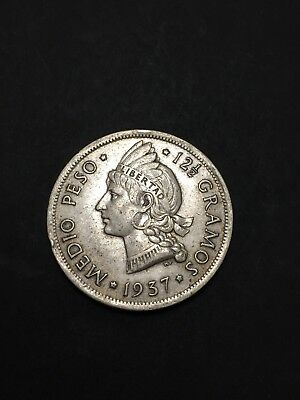 Dominican Republic 1937 1/2  Peso Coin Lot First Year Issue Key Date Full Earing