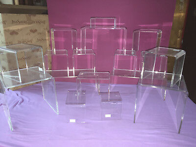 Clear Acrylic Plastic Display Risers Assorted Sizes Lot Of 17