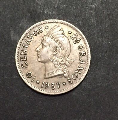 Dominican Republic 1937 10 Cent Coin First Year Issue Key Date Silver