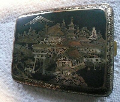 Quality c1910 Japanese Damascene Cigarette Case,Silver Copper Brass Inlays.