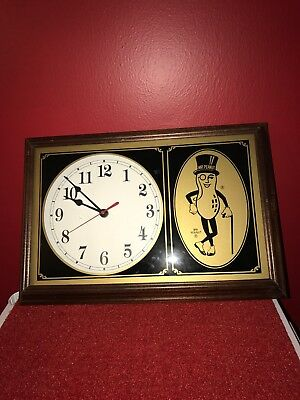 Vintage 1995 Mr. Peanut Chapin Clock Side Wood Frame Excellent Condition Rare!!!