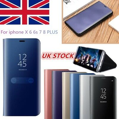 For iphone X 6 7 8 Plus Luxury Plating Leathe Mirror Flip Stand Phone Case Cover