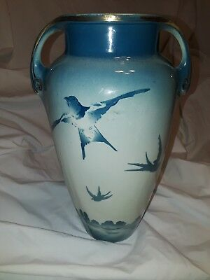 """Antique French Vase by KG Luneville """"Nesting Swallows""""c.1890 Blue & White"""