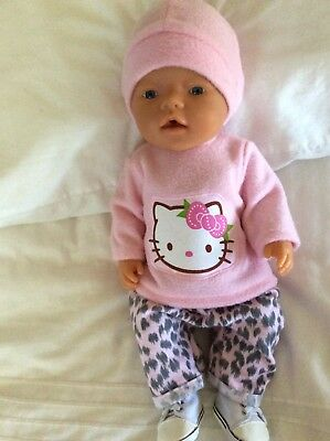 """Doll Clothes to fit 17"""" Baby Born doll ~ 3 Piece Set. Pink Leopard - Hello Kitty"""