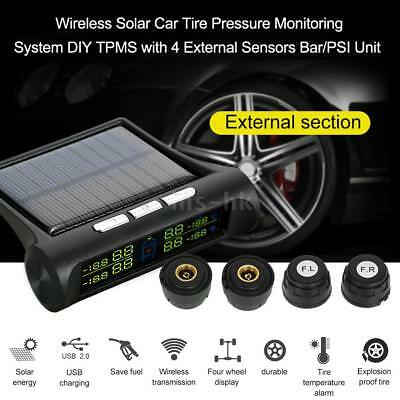 Wireless Solar Car Tire Pressure Monitoring System DIY TPMS with 4 Exter Sensors
