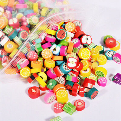 100Pc 4mm Thick DIY Slime Accessories Decor Fruit Cake Flower Polymer Clay Toy F