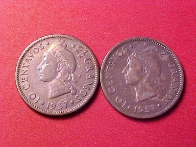 Dominican Republic 10 Centavos Silver 1937 (2) Two Coins Toned