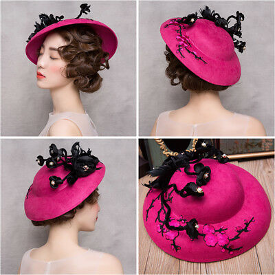 Red Vintage Artificial Flowers Wedding Party Hat Women's Prom Evening Formal Cap