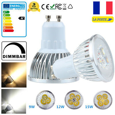 GU10 9W 12W 15W Dimmable LED Ampoule Lampe Downlight Spot light Bulb Lumière