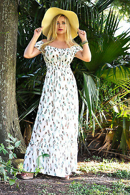 Off Shoulder White Feather print Boho Gyspy Peasant Beach Long Maxi Dress new