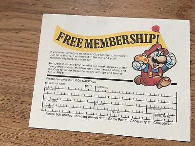 Club Nintendo membership application postcard. New and Completed Retro Vintage