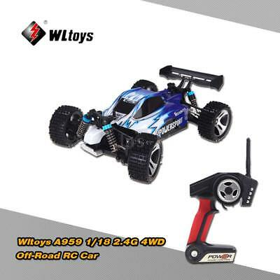 Wltoys A959 RC Auto telecomando 1:18 2.4G 4WD RTR Off-Road Buggy Blu UK G4P6