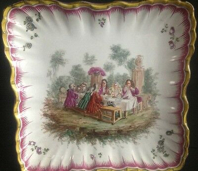 19th Century French Hand Painted Porcelain Dish - Feast Scene - Free Postage
