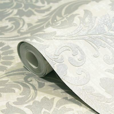Crown Luxe Highgrove Damask Wallpaper White - M1202 Glitter Sparkle