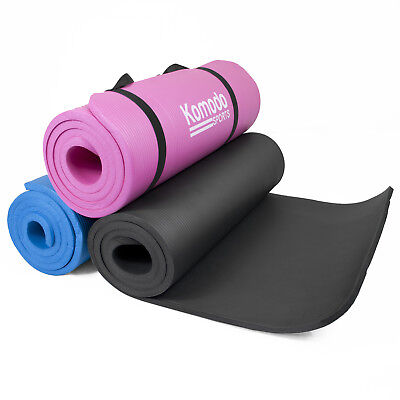 Komodo YOGA MAT 15mm Thick Roll Up Exercise Workout Gym Pilates Non Slip Padded
