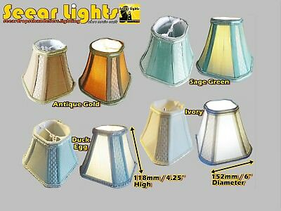 """6"""" Candle Square Lampshade Clip On Bulb Chandelier Pendant Light Shade 4 Colours"""