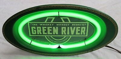 Green River Whiskey Lighted Advertising Sign Neon 1942 Excellent Old Vtg