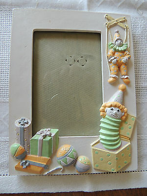"""CLOWN /PRESENTS,BALLOON'S ,JACK /B 4 x 3 PHOTO  Baby Picture frame 7"""" X 5 1/4 """""""