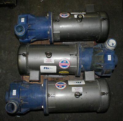 3 Finish Thompson Magnetic KC22 Centrifigal Pump Non-metalic 7.5HP Baldor Motor