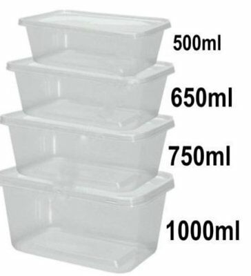 Heavy Duty Top Quality Food Prep Microwaveable Containers & Lids - 650ML