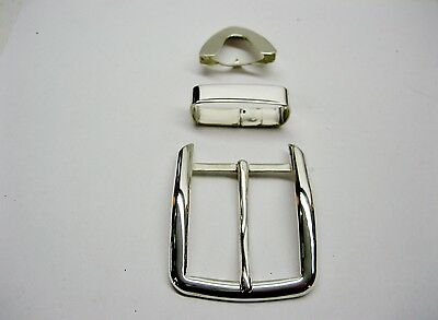 "Sterling silver 925 solid buckle loop and tip 52 grams for 1.5"" belt made in USA"